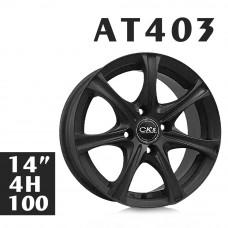 AT403 鋁圈 14吋6J 4孔 PCD100 平光黑