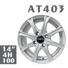 AT403 鋁圈 14吋6J 4孔 PCD100 銀色