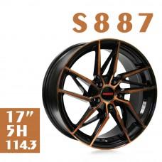 S887 鋁圈 17吋7.5J 5孔 PCD114.3 黑底古銅