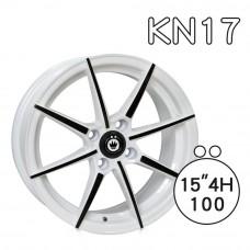 KN-17 鋁圈 15吋6.5J 4孔 PCD100 白底黑拋