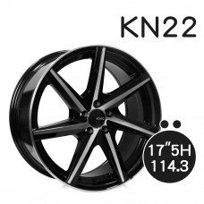 KN-22 鋁圈 17吋7.5J 5孔 PCD114.3 黑底拋光