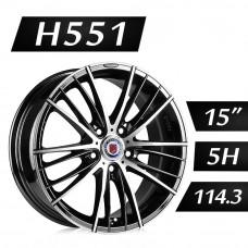 H551 鋁圈 15吋6.5J 5孔 PCD114.3 黑底拋光
