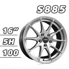 S885 鋁圈 16吋7J 5孔 PCD100 高亮銀