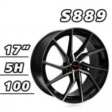 S889 鋁圈 17吋7.5J 5孔 PCD100 高亮黑