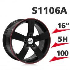 S1106A 鋁圈 16吋7J 5孔 PCD100 霧黑紅框