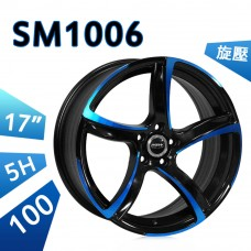 SM1006 鋁圈 17吋7.5J 5孔 PCD100 亮黑外藍