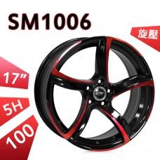 SM1006 鋁圈 17吋7.5J 5孔 PCD100 亮黑外紅